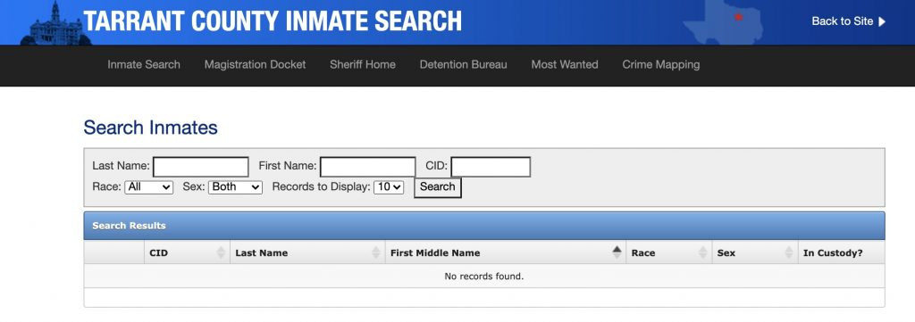 How to find an inmate in Tarrant County jail